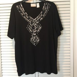 Alfred Dunner Black T-shirt with white silver neck